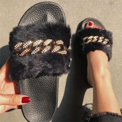 Fur Rhinestone Slip-On Flat With Summer Slippers