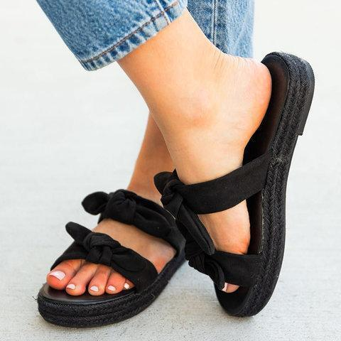 Bowknot Cloth Upper Platform Summer Slide Sandals
