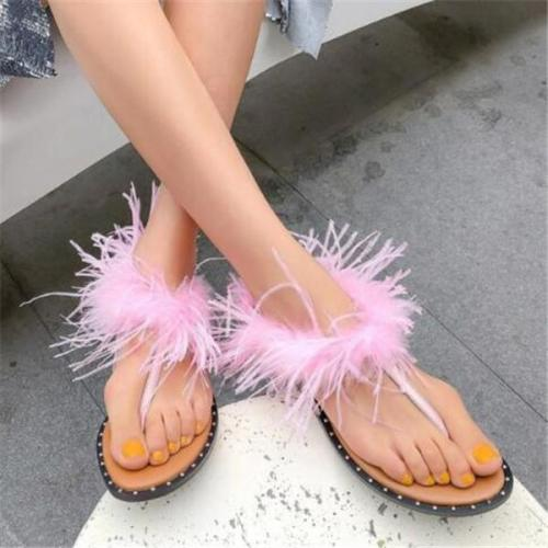 Women's Fashion Feather Flat Sandals