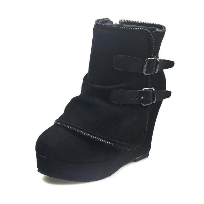 Fashion Round Toe High Heel Zipper Ankle Boots