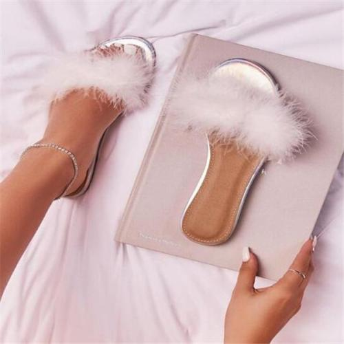 Summer Non-slip Flats Shoes Furry  Outdoor Beach Feather Slippers