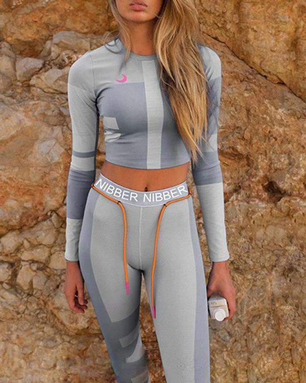 Stylish Navel Color Stitching Sports Sets