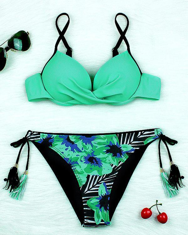 Print Tassel Lace Up Bikini Push Up Swimwear
