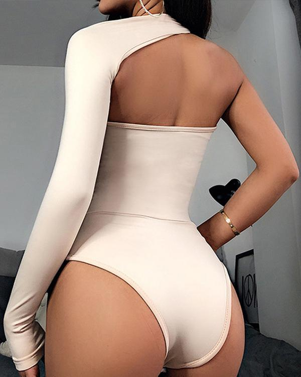 Sexy One Shoulder Long Sleeved Bodysuit Romper