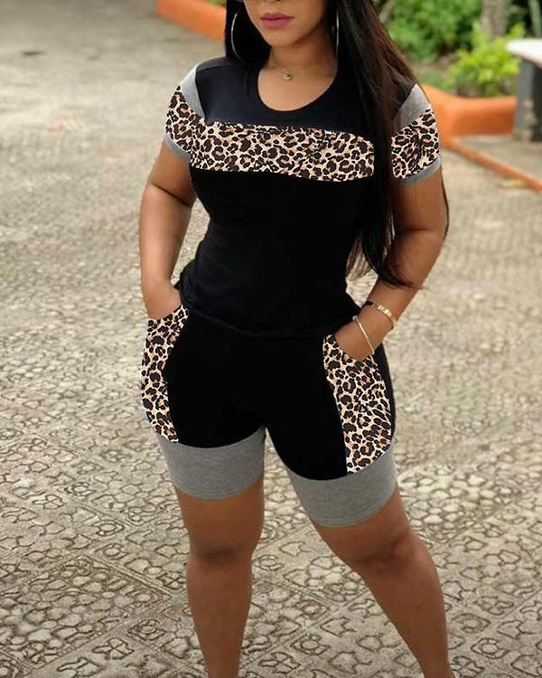 Cheetah Print Colorblock Top & Pocket Design Shorts Set