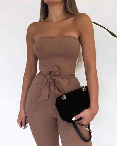 Ribbed Off Shoulder Sexy Jumpsuit Women Strapless Drawstring Romper