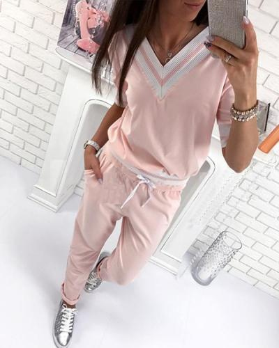 Casual Style V-Neck Top & Pant Sets