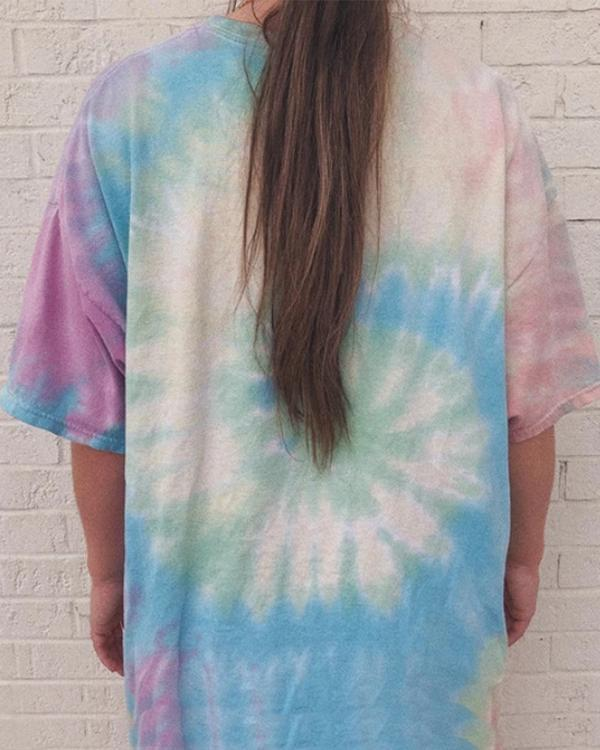 Tie Dye Cartoon Printed Oversize Top T-Shirt