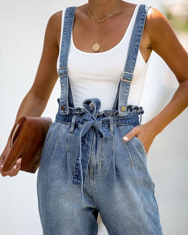 Solid Color High Waist Belt Strap Jeans Jumpsuit