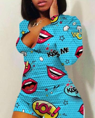 Women Sexy Lip Print Slim Fit Romper