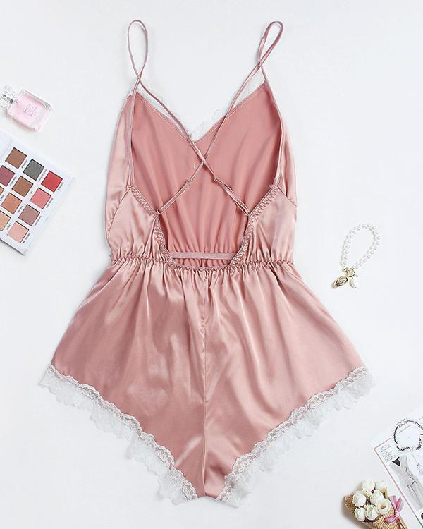Satin Contrast Lace Backless Belted Night Romper