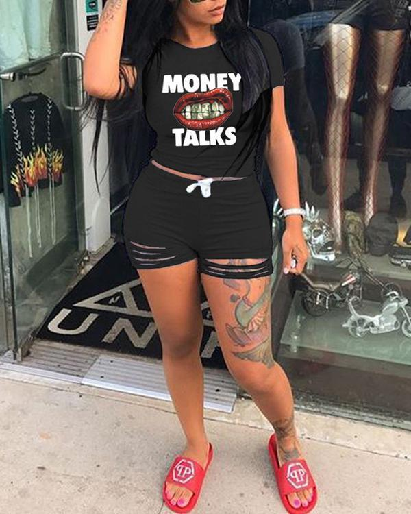 Summer Letter Mouth Print Hollow out Tee Shirts&Shorts Set