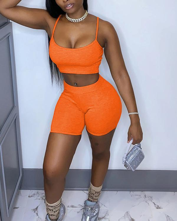 Spaghetti Strap Two-piece Shorts Set Sports Suits