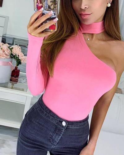 Women Cotton Halter One Shoulder Sexy Bodysuit  Romper