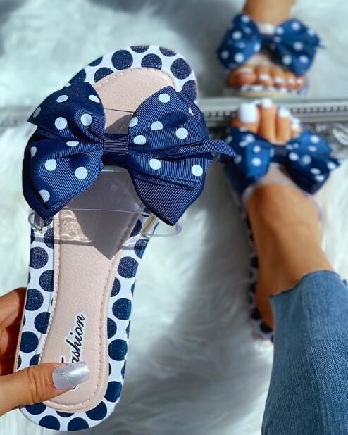 Transparent Strap Bowknot Dot Flat Slipper