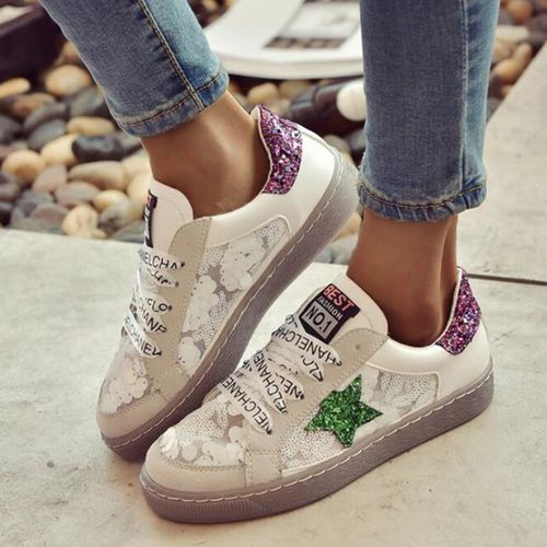 Women's Sequin Lace-up Closed Toe Flat Heel Sneakers