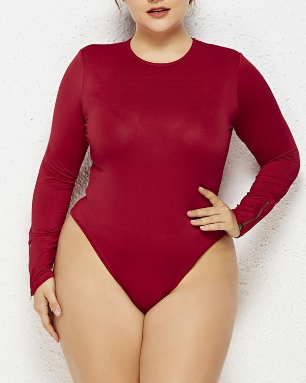 Plus Size Round Neck Romper Long Sleeve Bodysuit
