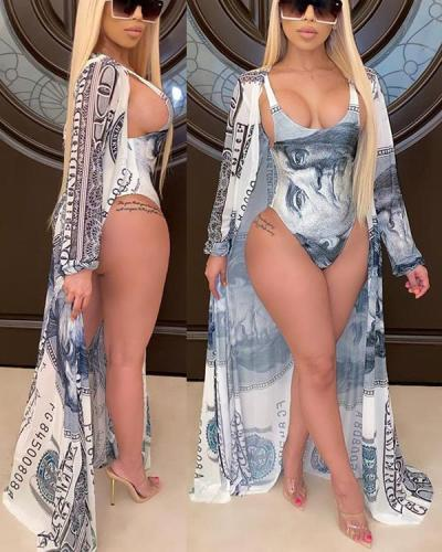 Fashion Casual Printed Cape + Bikini Split Swimsuit with Belt