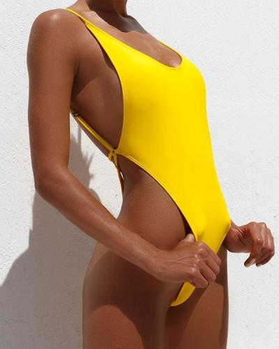 Solid Color Sexy Backless One-piece Swimsuit