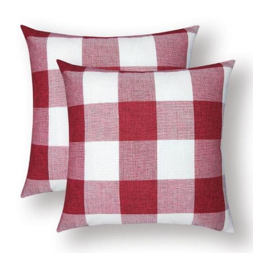 Solid Color Lattice Pillowcase Cushion Cover Lumbar Pillow Case