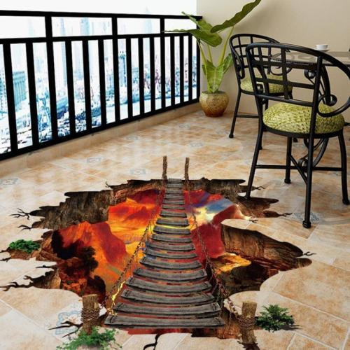 3D Wall Stickers Flame Mountain Chain Bridge PVC Removable Three-Dimensional Stickers Decorative Painting