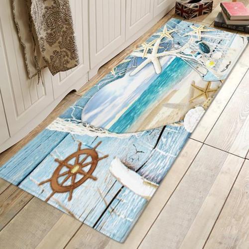 Wooden Board Starfish Pattern Rug Bedroom Living room Door Bathroom Anti-slip Floor Mat Carpet