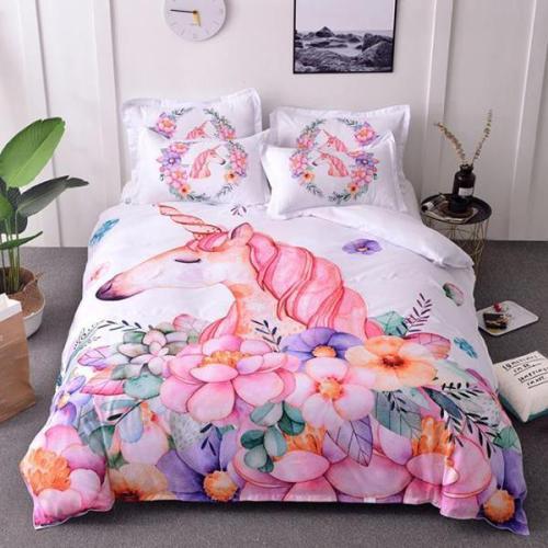 3D Fresh Watercolor Bedding Set Quilt Case Set