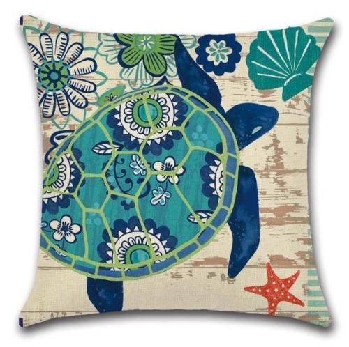 Sea Turtle Cushion Cover Linen Hug Pillow case