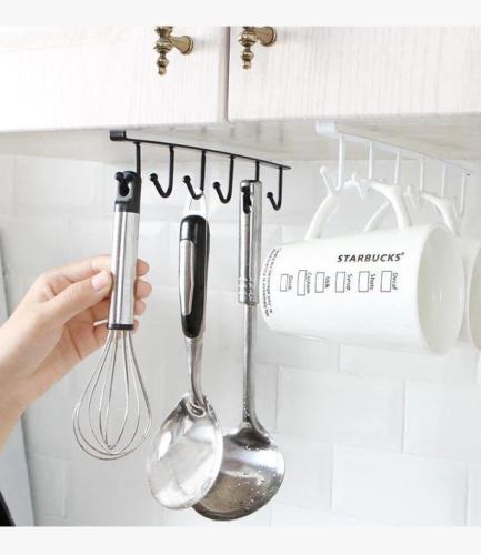 Under-Cabinet Hanger Rack (6 Hooks)-The load capacity is 6.6 lbs / 3 kg