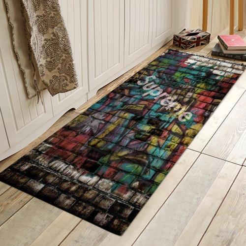 Wall Lettles 'Surpme' Pattern Rug Bedroom Living room Door Bathroom Anti-slip Floor Mat Carpet
