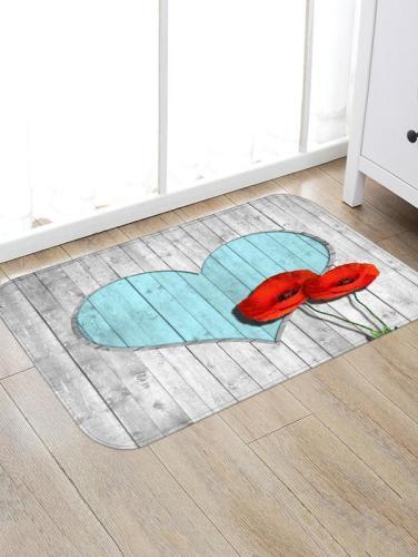 Wooden Board Love Pattern Rug Bedroom Living room Door Bathroom Anti-slip Floor Mat Carpet