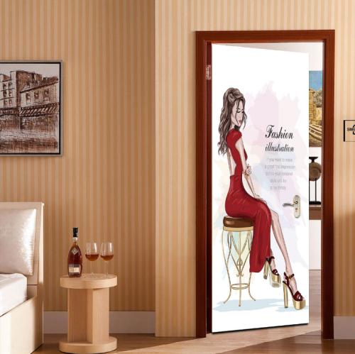 Fashion Beauty Creative Door Stickers