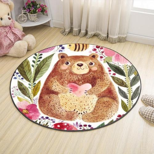 Cartoon Animals Printing Pattern Mat Round Carpet Mat Home Living Room Bedroom Baby Bedside Non-slip Crawling Mat