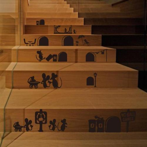 Creative Mouse Family Staircase Decorative Character Pattern Print Waterproof Stair Stickers