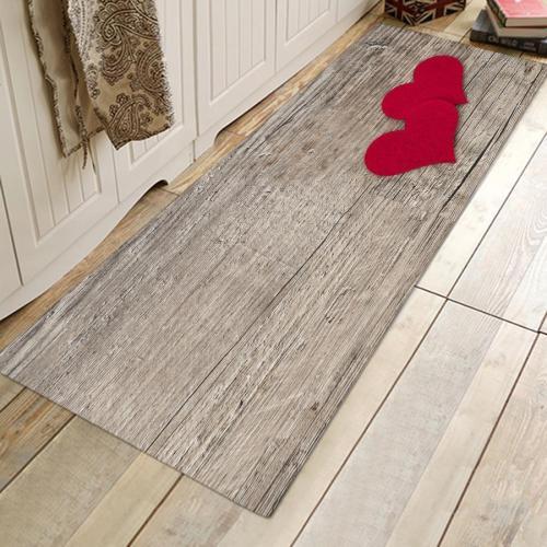 Double Red Love Wooden Rug Bedroom Living Room Door Bathroom Anti-slip Floor Mat Carpet