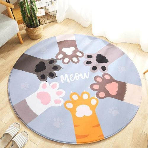 Round Flannel Cartoon Carpet Mat Home Living Room Bedroom Baby Bedside Non-slip Crawling Mat