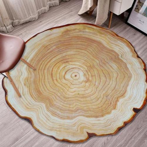 Round Wood Annual Ring Carpet