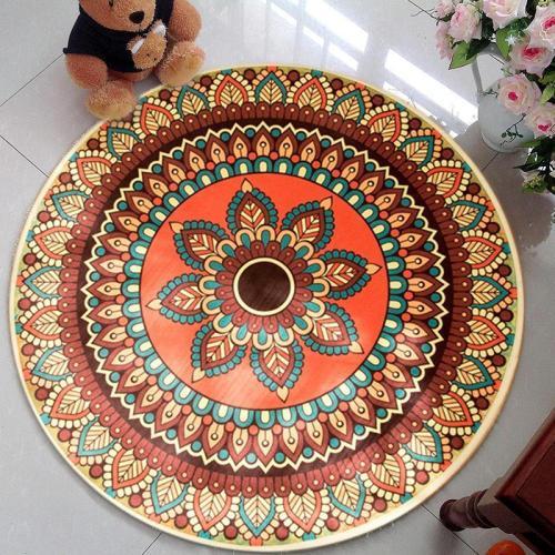 Bohemia Series Pattern Round Carpet Home Bedroom Rug Door Mat