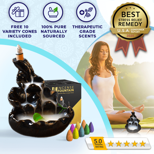 Incense Fountain - Stress & Anxiety Relief, Promotes Deep Healing Sleep, Mental Calmness