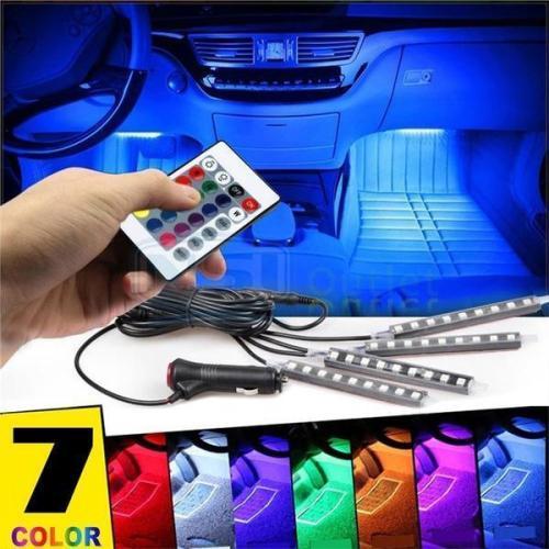 Car Interior RGB LED  Light Lamp Strip with Wireless IR Remote Control