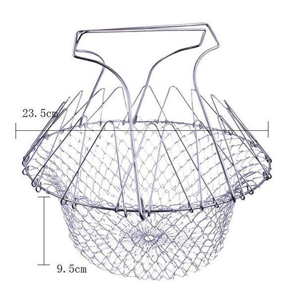 Foldable Steam Rinse Strain Fry French Chef Basket Magic Basket Mesh Basket Strainer Net