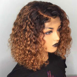 Ombre Brown Color Short Curly Lace Front Human Hair Wigs