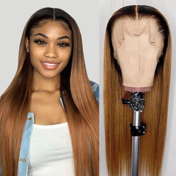 ReadyWig Ombre Blonde Straight Human Hair Lace Front Wig - Customized