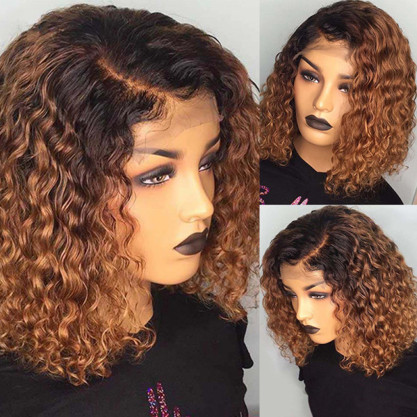 ReadyWig Ombre Brown Color Short Curly Lace Front Human Hair Wig - Customized