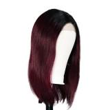 Peruvian Remy ombre Straight bob lace front wigs