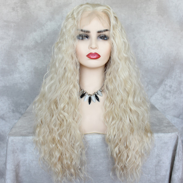 ReadyWig Blonde Loose Curly Synthetic Lace Front Wig 24 Inches