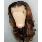 Ombre Color Lace Front Human Hair Wigs With Baby Hair
