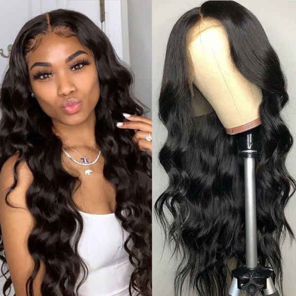 ReadyWig Black Body Wave Human Hair Lace Front Wig -Customized