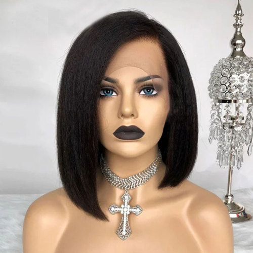 ReadyWig Black Kinky Straight Short Bob Human Hair Lace Front Wig - Customized