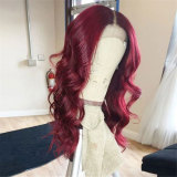 long Burgundy Red wavy human hair wigs with baby hairs
